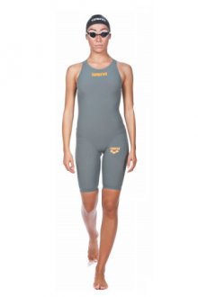 Arena Powerskin R-EVO ONE Full Body Short Leg Open Back grey bright orange
