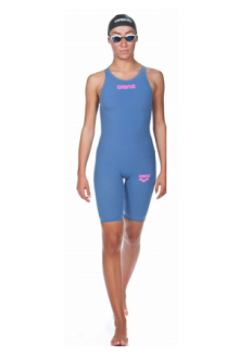 Arena Powerskin R-EVO ONE Full Body Short Leg Open Back blue-powder pink