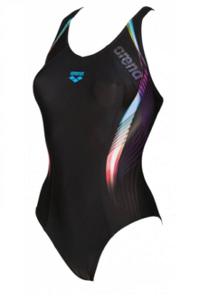 Arena W Fluency One Piece V Back Black-Turquoise