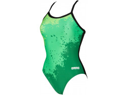 Arena W Spraypaint Light Drop Back One Piece green-black